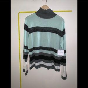 NWT Sag Harbor Metallic Stripe Turtleneck Sweater
